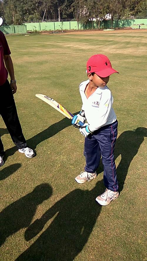Junior Learns Batting Skill